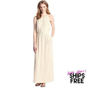 NWT Lucky Brand Halter Maxi Dress Cream #0361